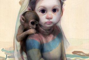 Boy with Monkey, 70 x 50 cm, 2019, Acryl auf Leinwand