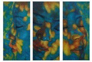 Buntes Leben Triptychon, , je 130 x 60 cm, 2009, Öl auf Leinwand