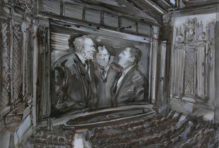 Corpus Callosum II, , 130 x 150 cm, 2011, Sepiatusche auf Leinwand