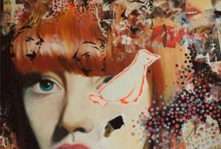 Figyelő, 150 x 120 cm, 2009, Öl und Papier auf Leinwand