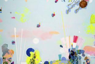 Dancing to 'Black Milk', 160 x 250 cm, 2019, Gouache, Öl und Acryl auf Leinwand
