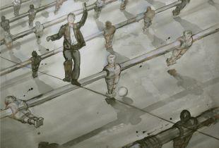 Freebalancer, , 130 x 150 cm, 2009, Sepiatusche auf Leinwand