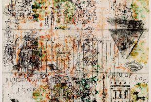 Calvario - Fundicion Locrono, , 60 x 70 cm, 2008, Graphit, Tinte, Erde, laviert auf chinesischem Papier