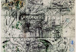 Puenta de la Reina, , 60 x 70 cm, 2008, Graphit, Tinte, Erde, laviert auf chinesischem Papier