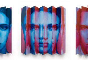 Janus #21, , 79 x 75 x 10 cm, 2008, Öl auf Papier auf Holz