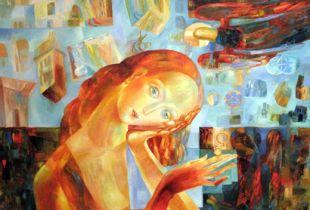 Jeder hat sein eigenes Kreuz zu tragen, , 70 x 70 cm, 2009, Öl auf Leinwand