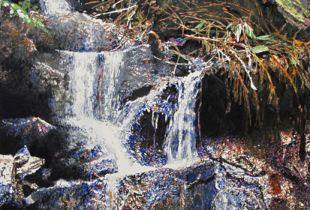 Kleiner Wasserfall, , 120 x 90 cm, 2005, Gouache und Öl auf Leinwand