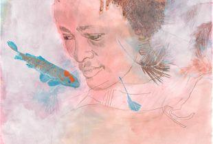 Koi, 150 x 160 cm, 2010, Mixmedia auf Papier