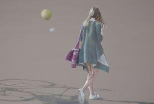 Mädchen in fremder Stadt, 100 x 150 cm, 2017, Öl auf Leinwand