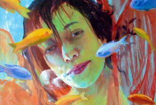 Mädchen und Schmetterlinge, , 150 x 90 cm, 2007, Öl auf Leinwand
