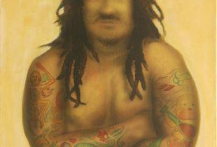 Mann mit Tattoo, Cho, Jun Ho, 100 x 70 cm, 2008, Acryl auf Leinwand
