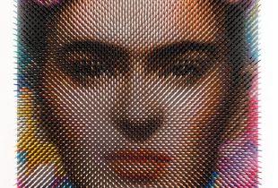 Optical Portrat Frida, 57 x 43 x 9 cm, 2018, Lack auf Holz