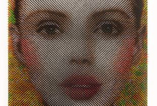 Optical Portrat Mara, 80 x 60 x 9 cm, 2018, Lack auf Holz
