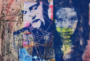 Right there, Nusbaum, Dieter, 100 x 100 cm, 2015, Mischtechnik auf Leinwand