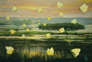 Schmetterlinge im Moor, , 64 x 90 cm, 2007, Öl auf Leinwand