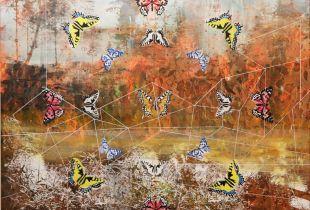Landschaft Schmetterlingskunde, 100 x 140 cm, 2018, Mischtechnik auf Leinwand