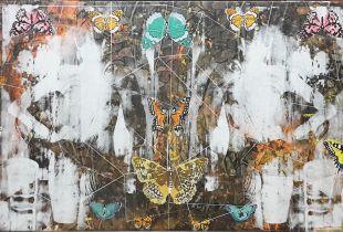 Schmetterlingskunde Spiegel, 80 x 150 cm, 2018, Mischtechnik auf Leinwand