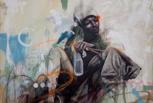 king of trash, 140 x 100 cm, 2017, Mischtechnik auf Leinwand