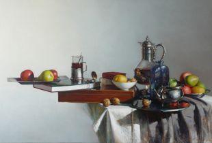Stillleben mit Glaskanne, , 100 x 150 cm, 2009, Öl auf Leinwand
