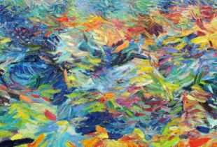 Tanzende Meerbögen, , 70 x 160 cm, 2008, Öl auf Leinwand