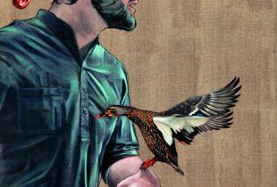 Terrassenvogel, 160 x 110 cm, 2015, Mixmedia auf Leinwand