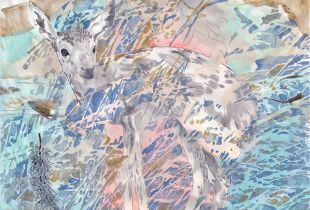 Waldstück, 150 x 160 cm, 2015, Mixmedia auf Papier