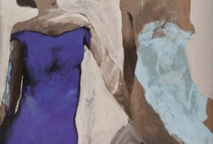 Zwei Damen , , 140 x 120 cm, , Mixmedia auf Leinwand
